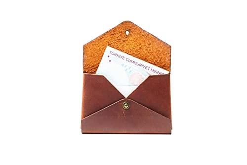 Hecho a mano de cuero genuino sin costuras tarjeta caso cartera auténtico mujeres hombres accesorio elegante diseño regalo - ES-9027