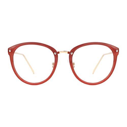 TIJN Blue Light Block Glasses Round Optical Eyewear Non-prescription Eyeglasses Frame for Women Men (DarkRed(improved blue light blocking lens))