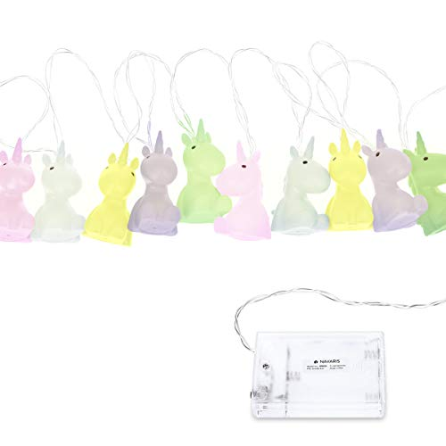 Navaris Battery Powered String Lights - 6.5ft Decorative LED String with 10 Lights - for Bedroom, Room Decor, Kids - Cute Unicorn Design - Pastel