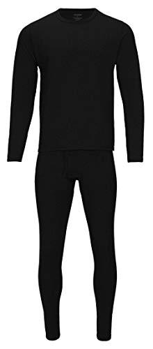 Rocky Thermal Underwear for Men (Thermal Long Johns Set) Shirt & Pants, Base Layer w/Leggings/Bottoms Ski/Extreme Cold (Black - Heavyweight Fleece/Large)