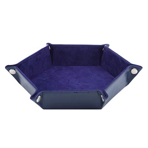 #N/A Schwenly Dice Tray Dados Plegable Snap Storage Box Hexágono Jewelry Coin Organizador de escritorio, azul (trompeta)