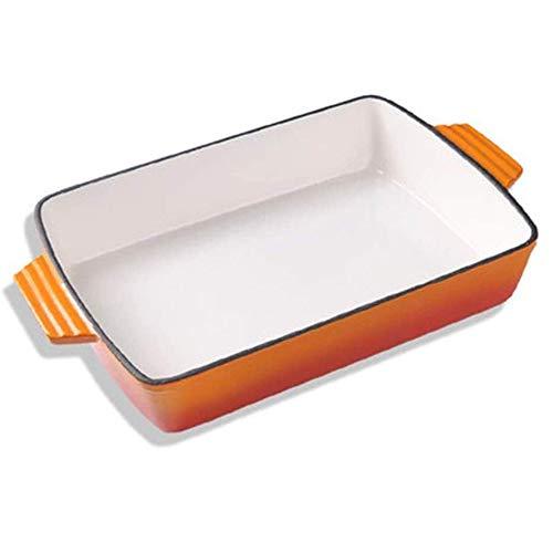 JIANGPENG Gietijzeren pan emaille pan binauraal vierkante ovenschaal vispan keuken huishoudelijke hotel benodigdheden gas