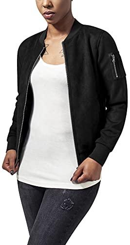 Urban Classics Ladies Imitation Suede Bomber Jacket Chaqueta, Negro (Black 7), XS para Mujer