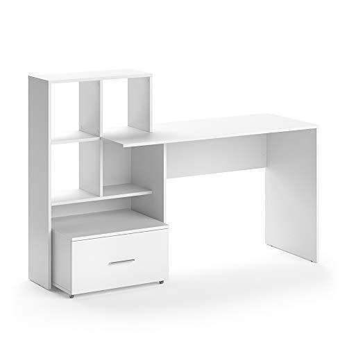 Vicco Schreibtisch Loris Weiß Computer Bürotisch PC Regal Schublade Arbeitstisch
