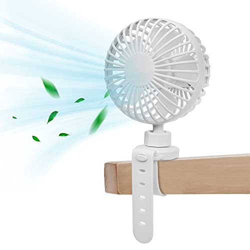Portable Mini Handheld Personal Fan, Baby Stroller Fan 360 Degree Rotatable, Car Seat Fan, Safe Quiet and Long Lasting Charge-White or Pink