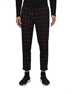 Splash Drawstring Elastic Waist Side Pocket Roll Up Hem Plaid Pants for Men