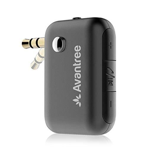 Avantree CK210 Receptor Bluetooth para Coche, Kit Manos Libres con Adaptador de Audio 3.5mm AUX para Estéreo, Dual Link & Asistente de Voz
