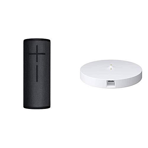 Ultimate Ears Boom 3 Portable Bluetooth Wireless Speaker (Waterproof) — Night Black & Logitech Ultimate Ears Power Up Charging Dock for Boom 3 Megaboom 3 Blast and Megablast