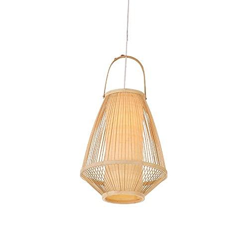 XCY Iluminación Decorativa, Estilo Chino Candelabro de Bambú Hecho a Mano Creativo E27 Candelabro de Ratán de una Sola Cabeza Lámparas Colgantes Color Primario Forma de Cubo Pantalla de Lámpara Habit