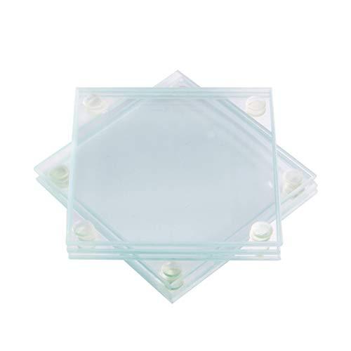 Posavasos de vidrio - Juego de 6 | Posavasos de vidrio transparente | Para Bebidas | Tapetes para mesa de centro y comedor | M&W (cuadrado)