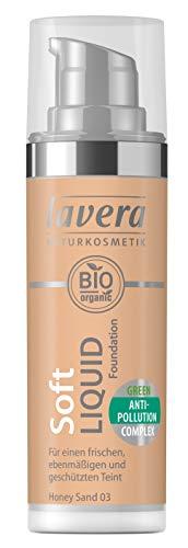 lavera Soft Liquid Foundation -Honey Sand 03- Für einen frischen Teint ∙ Leichtes auftragen ∙ Vegan Naturkosmetik Natural Make-up Bio Pflanzenwirkstoffe 100% natürlich (1x 30 ml)