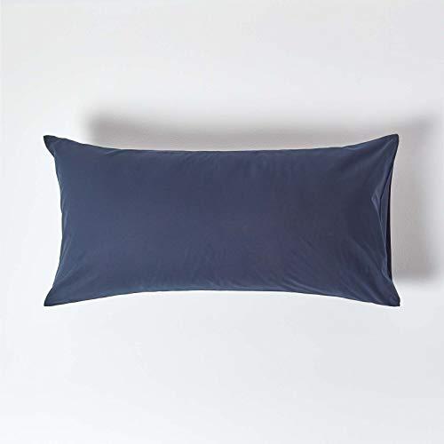 HOMESCAPES Taie d'oreiller 50x90 cm en 100% Coton égyptien 200 Fils Coloris Bleu Marine