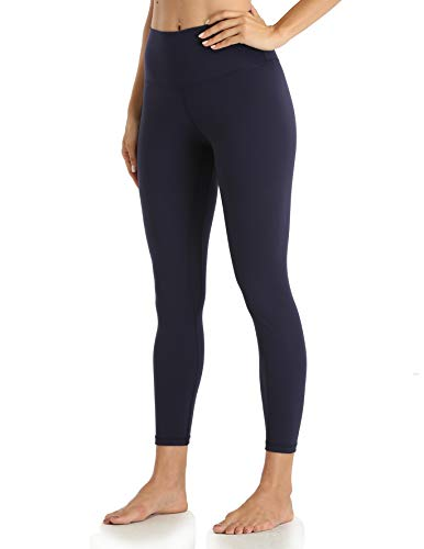 YUNOGA Women's Soft High Waisted Yoga Pants Tummy Control Ankle Length Leggings (S, Navy)