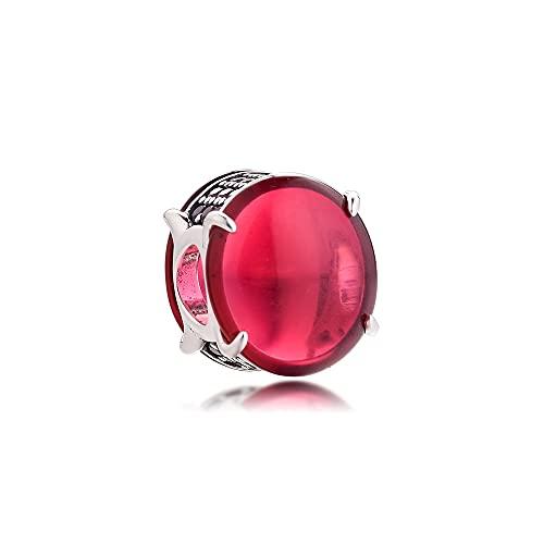 LIIHVYI Pandora Charms para Mujeres Cuentas Plata De Ley 925 Joyas con Cabujón Ovalado Rosa Fucsia Compatible con Pulseras Europeos Collars