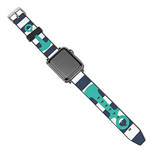 Compatible con Apple Watch Band Correa de reloj Nautical Azul Marino Rayas Turquesa Ancla 38mm 40mm Correa de repuesto de piel sintética suave para iWatch Series 5 4 3 2 1
