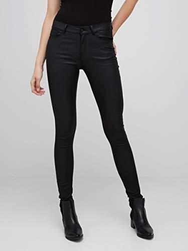 Vero Moda Vmseven NW SS Smooth Coated Pants Noos Pantalones, Negro (Black Detail:Coated), 42 /L30 (Talla del Fabricante: X-Large) para Mujer