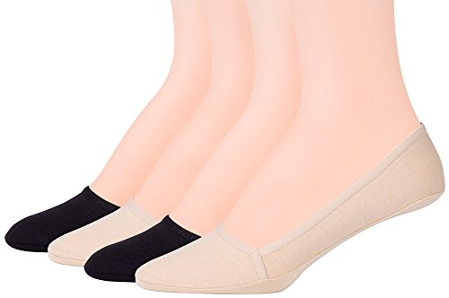 PEDS Women's Unseen Low Cut No Show Socks with Gel Tab, Black, Nude (4 Pairs), Shoe Size: 5-10