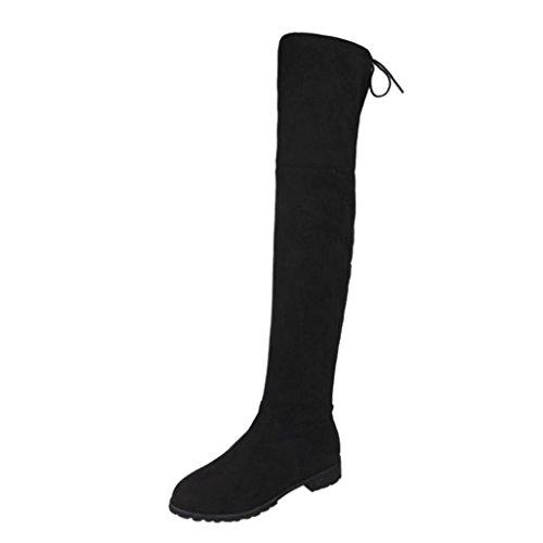 Langschaftstiefel Damen | Stiefel Schuhe | Overknees Wildlederoptik Schlupfstiefe l Elegante Schleifen Boots | LMMVP (Schwarz, 37 EU)