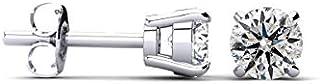 14kt Diamond Stud Earrings- White Gold Round Diamond Earring Studs- Earrings in White Gold - (AGS Certified I-J, I2-I3)| Earring Studs by Sparkle Bargains