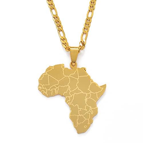 Kkoqmw Mapa de África Collares Pendientes Mujeres Hombres Color Plata/Color Dorado Joyería Africana