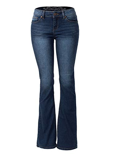 Design by Olivia Women's Sexy Stylish Flare Bell Bottom Slim Bootcut Jean