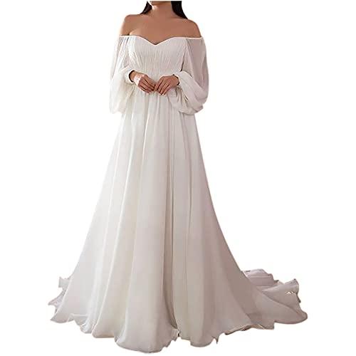 Abiti Donna Eleganti Curvey da Cerimonia Lunghi Abito con Spalle Scoperte da Donna Sexy con Scollo a V Slim Vestito da Sposa in Pizzo Moda Abiti da Sera