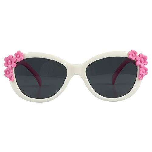 LUOEM Kinder Sonnenschirme im Freien Brille Blume Dekorative Sonnenbrille Kinder Sonnenbrille Party in Großen Blumen Sonnenbrille für Mädchen (Rosig Und Weiß Und Grau)