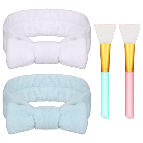 Heyu-Lotus 2 Bowknot Haarbänder mit 2 Bürsten, Spa Coral Fleece Makeup Stirnbänder, Elastische Bad Duschkopfwickel für Frauen beim Waschen der Gesichtsdusche Yoga Sport(Weiß & Blau)