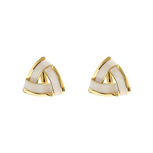OMING Pendientes Pendientes de Plata con Forma de Aguja de Plata 925 Pendientes de Oro Delicado y Lindo de triángulo geométrico. Pendientes para Mujer