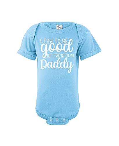 CrazWear Mono de algodón para bebé con texto 'I Try to Be Good but I Take After Daddy', divertido y unisex - azul - recién nacido