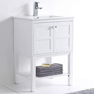 """Brooklyn Vanity 24"""" Wide -2 Door/Shelf, White, with Sink"""
