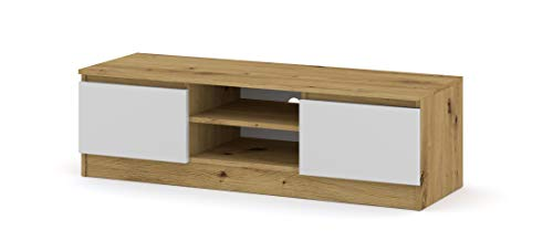 BIM Furniture Atena Meuble TV bas 120 cm (corps : chêne artisanal/façades : blanc mat)