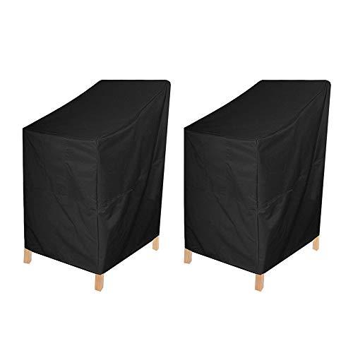 mistybabes Gartenstuhl-Abdeckung, 2 Stück, Gartenstuhl-Abdeckungen, Terrassen-Stapelstuhl-Abdeckung für Outdoor-Stühle, Aufbewahrung, wasserdicht, reißfest (64 x 64 x 120 cm)