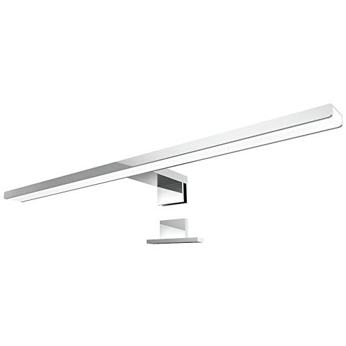 LED Spiegelleuchte LEVA 2-in-1 Aufbauleuchte oder Klemmleuchte 50cm in chrom, 8W IP44, neutralweiß 4500K - für Möbel, Spiegel und Bad