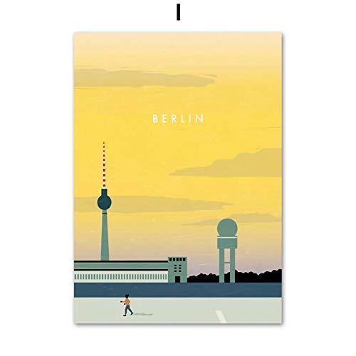 Paris Londres Berlín viaje cartel retro pared arte lienzo pintura nórdico cartel e impresión sala decoración pintura pared cuadro