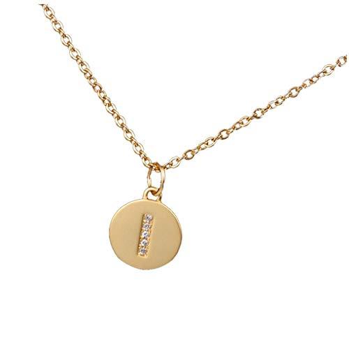 Dorical Buchstaben Kette/Damen-Kette Buchstaben A-Z in Silber oder Rosegold - Alphabet Halskette mit Anhänger- Silberkette Halschmuck für Damen, Kinder & Herren Sonderverkauf(02-I,One Size)