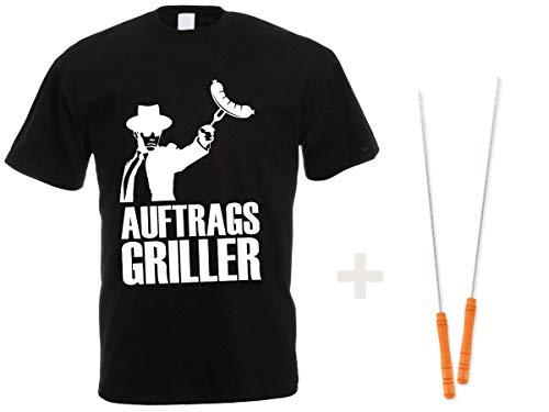 T Shirt opdrachtgriller met 2 spiesen - T-shirt zwart met spreuk - 2-delige grill-accessoireset van Alsino 3XL zwart