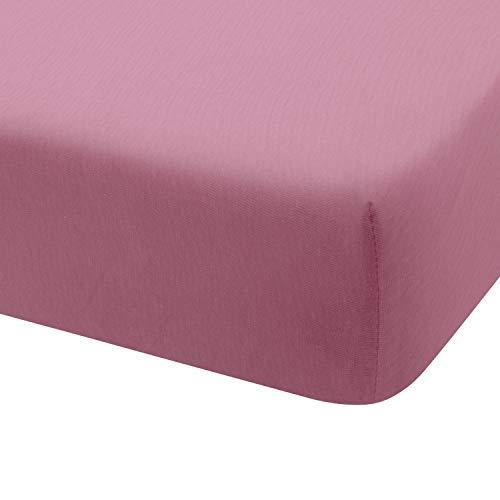 Montse Interiors Sábana Bajera Ajustable Punto Jersey Algodón 100% Jersey (para Cama de 90x190/200, Rosa)