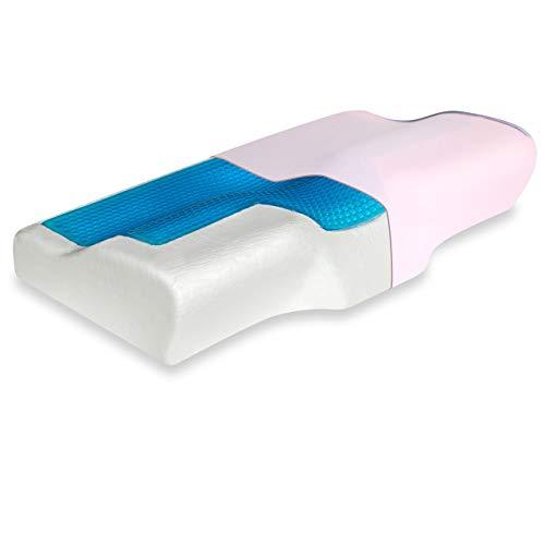 Vitabo Gemütliches Kopfkissen mit Gel-Auflage, ergonomisches Kissen, Nackenstützkissen für Seitenschläfer aus Viscoschaum (Rosa)