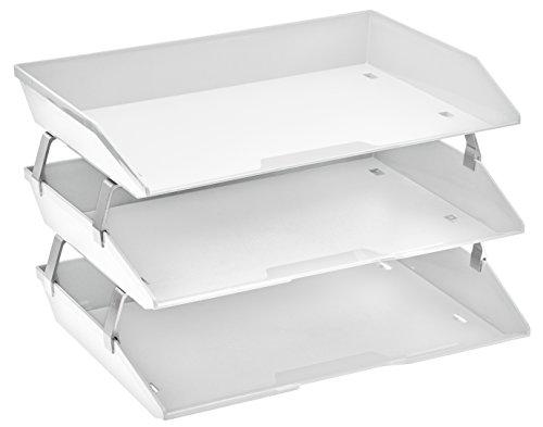 Acrimet Facility 3 Tier Letter Tray Side Load Plastic Desktop File Organizer (White Color)