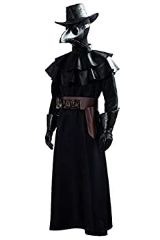 Adult Unisex Plague Doctor Cosplay Costume Steampunk Bird Beak Mask Long Robe Cape Outfit  Large Male