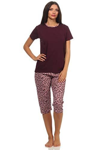 Damen Capri Pyjama Schlafanzug Kurzarm im tollen Leo Design, Farbe:Beere, Größe2:40/42