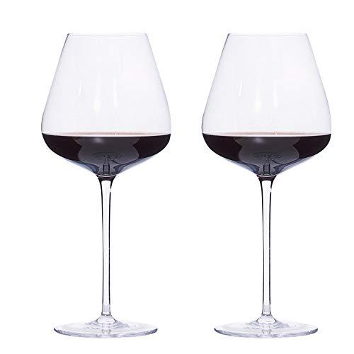 Copas de vino de cristal soplado a mano, sin plomo, cristal transparente de alta calidad, juego de 2 – 20 onzas aniversario de boda