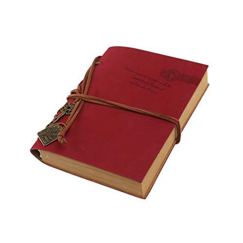 OSALADI Cuaderno de Diario Clásico Retro Cuaderno de Estilo Vintage de La PU con Cuerda Y Llavero Cuaderno en Bloc de Notas Diario de Viaje Bloc de Bocetos ( Rojo )