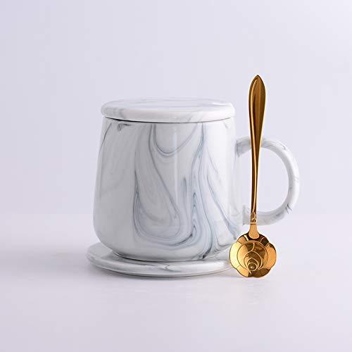 CLX Tassen Kaffeetassen Untertassen Teegläser Marmor Muster Tasse Mit Deckel Löffel Keramik Kaffeetasse Schale Set Becher Startseite Wasser Tasse Tee Tasse Perlmutt,Grau
