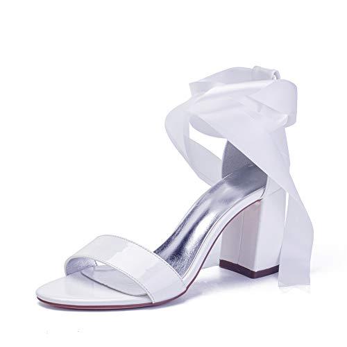 LGYKUMEG Zapatos de Boda de Las Mujeres de Rhinestones Plataforma Zapatos De Novia Sandalias de Tacón Puntera Abierta,Blanco,37EU/6US/4UK