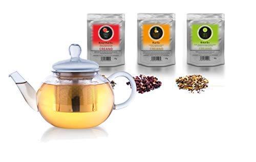 Creano Glas-Teekanne 3-teiliger Teebereiter mit integriertem Edelstahl-Sieb und Glas-Deckel, tropfrei mit 3X 60g Früchte-Kräuter-Tee (Erbeer-Minze, Exotische Früchte, Sanfte Limette) (0,8 L)