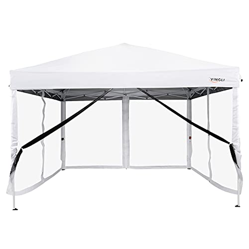 VINGLI 10x10ft Easy Pop Up Canopy Tent w/ 4 Removable Zippered Mesh Sidewalls for Patio/ Gazebo/ Camping/ Outdoor Activities, UV Coated Sun Shade Shelter, White