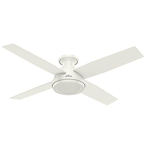 """Hunter Fan Company 59248 Dempsey Indoor Low Profile Ceiling Fan with Remote Control, 52"""", Fresh White Finish"""