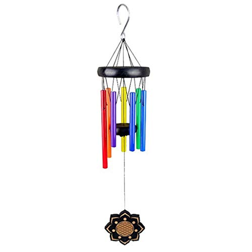 Carillons éoliens Sept Couleurs Métal Couleur Tube Wind Chimes Hanging Ornement Hem Sun Flower Bois Massif Wind Chime Tuning Wind Chimes